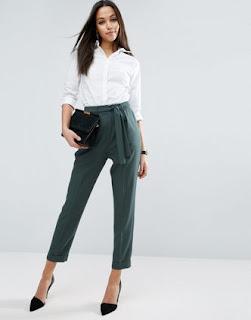 Pantalon carotte tissée vert