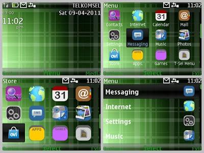 Green line dark theme for Nokia C3-00 X2-01 Asha 302 Asha 200 Asha 201