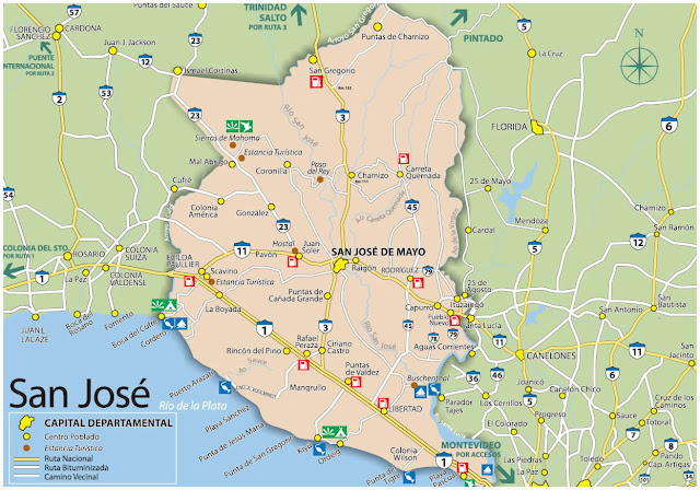 Mapa do Uruguai - Departamento de San José