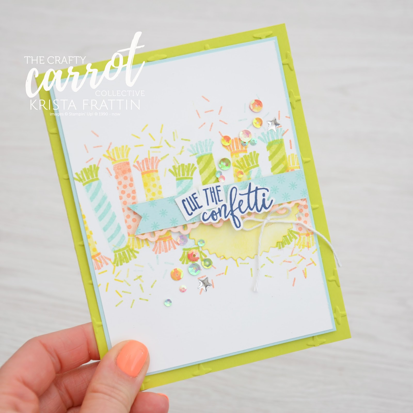 Stampin\' Dolce: Cue the confetti - The Crafty Carrot Co blog hop