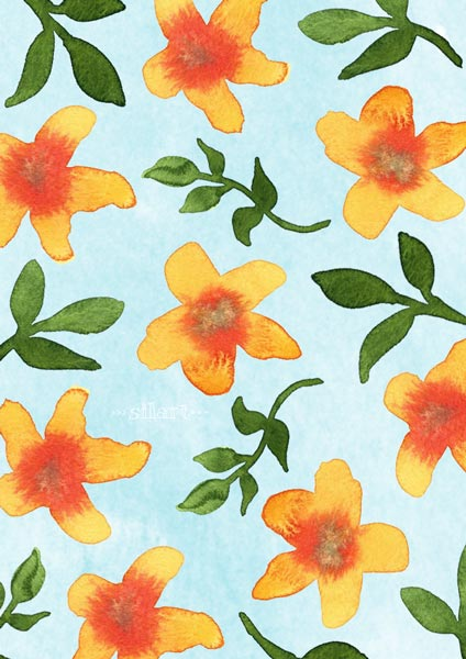 Orange Flowers, watercolor pattern