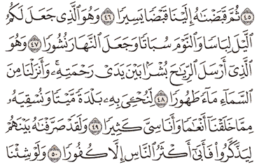 Tafsir Surat Al-Furqan Ayat 46, 47, 48, 49, 50