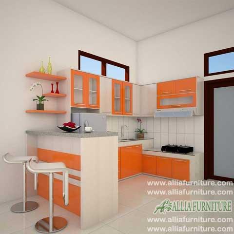 kitchen set meja bar minimalis orange