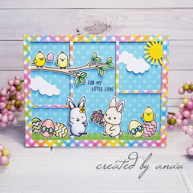 Sunny Studio Stamps: Chubby Bunny Comic Strip Everyday Dies Customer Card Share by Ana A