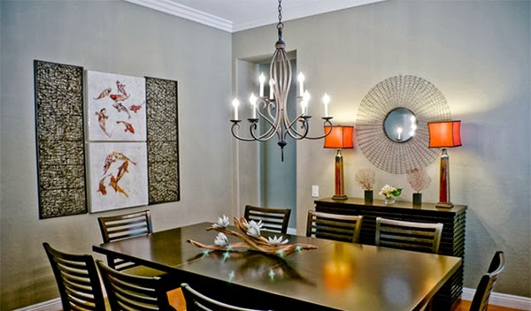 A Dining Room With Wooden Furniture Modern Asia Wall Artwork Featuring Koi Fish And Coral Red Creates Connection The Style Of
