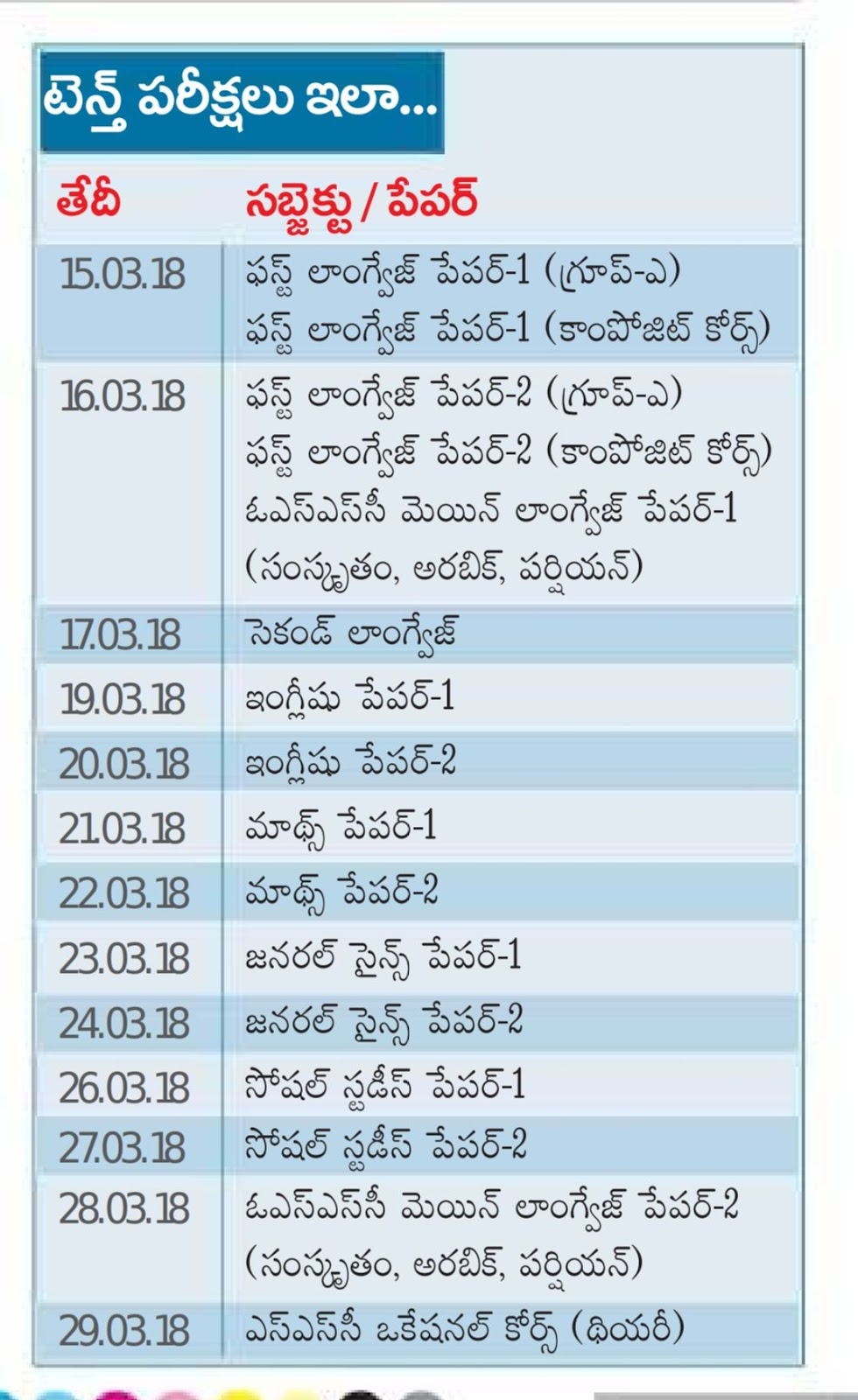 AP SSC/10th Class time table March 2018