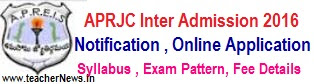 APRJC Online Application 2017 AP Residential Inter Admission Test Online Application form download