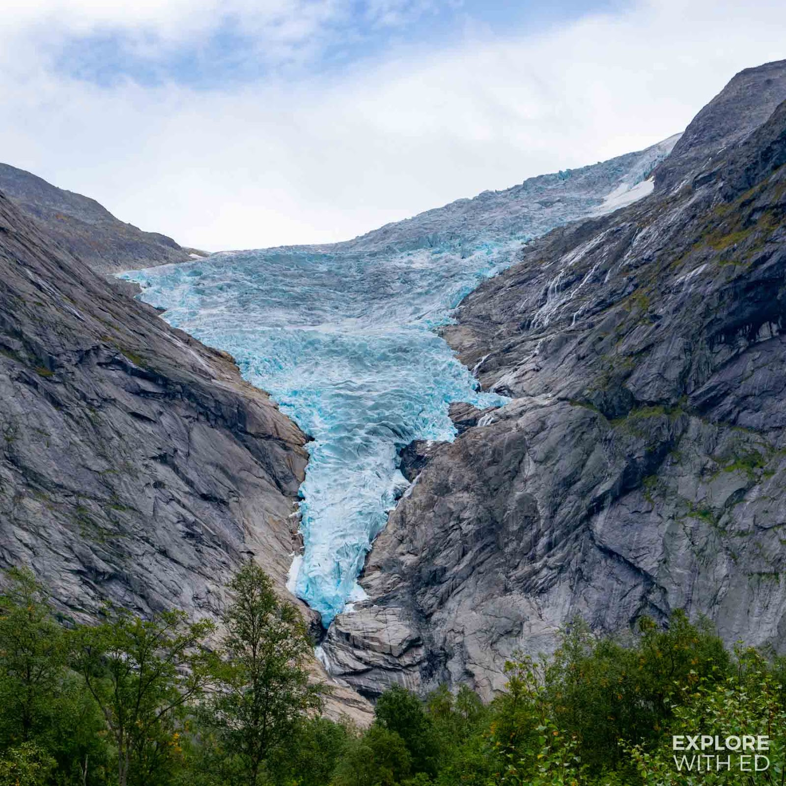 A closeup view of Briksdal Glacier in 2018