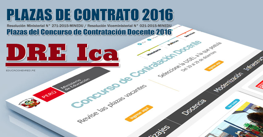 DRE Ica: Plazas Vacantes Contrato Docente 2016 (.PDF) www.dreica.gob.pe
