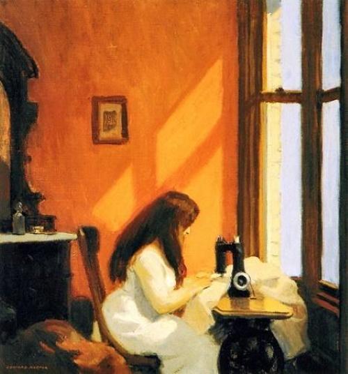#PraCegoVer: Girl at Sewing Machine - Moça na Máquina de Costura, pintura de Edward Hopper. Retrata uma jovem sentada numa máquina de costura de frente para uma janela num belo dia de sol.
