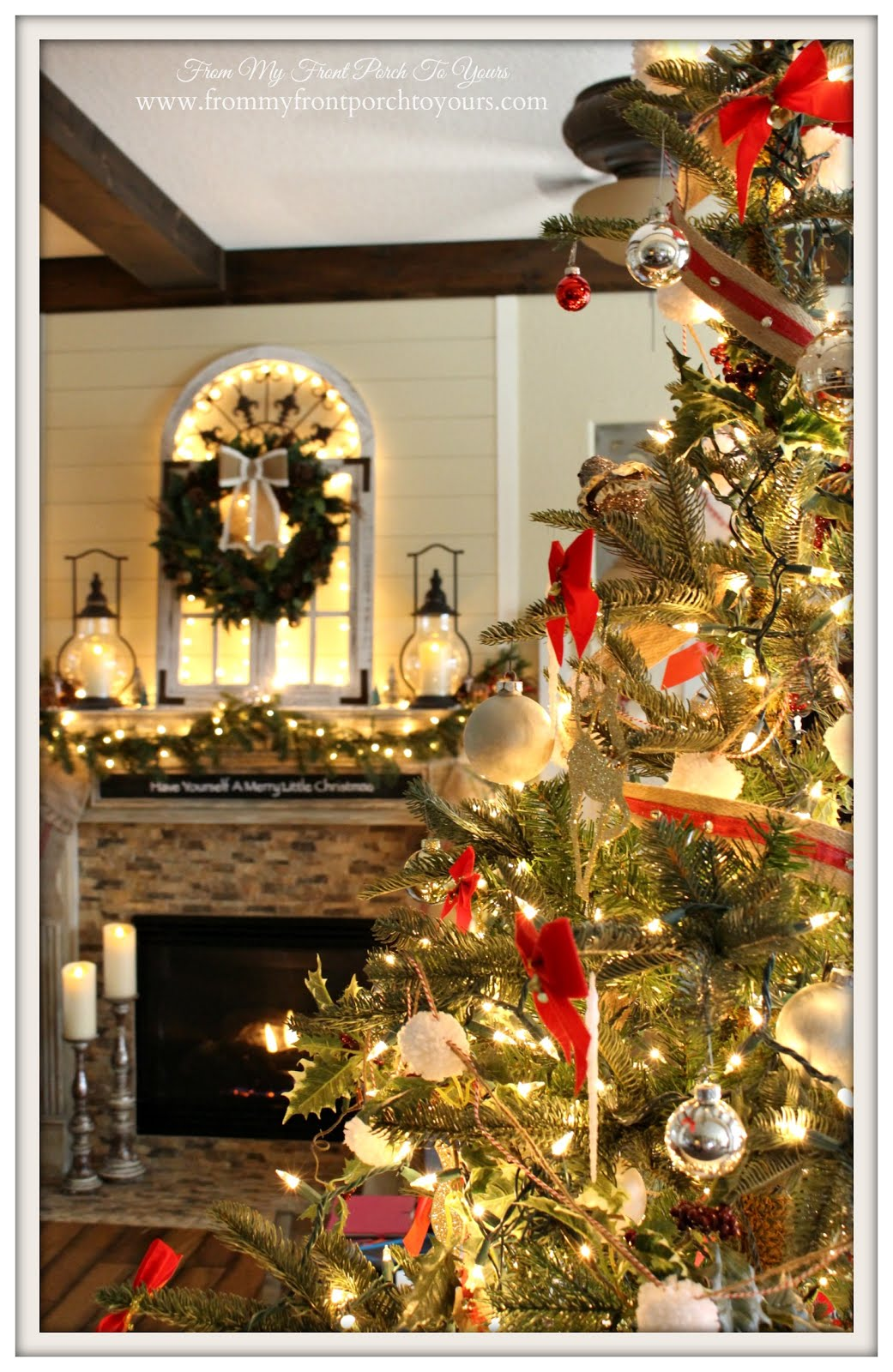 farmhouse christmas tree christmas mantel french farmhouse from my front porch to yours - Farmhouse Christmas Tree