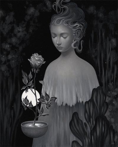 Amy Sol, imagenes de soledad femenina bonitas, rostros tristes, hermosas hadas del bosque de noche surrealista, chidas de arte inspirador, mujer y flores