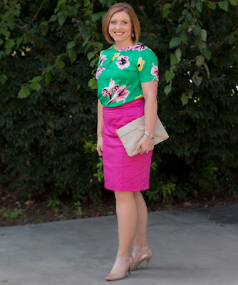 Bright and floral office outfit, summer work outfit