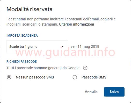 Gmail finestra opzioni Modalità riservata