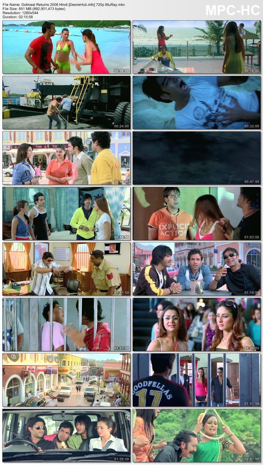 Golmaal Returns 2008 Hindi 720p BluRay 850MB Desirehub
