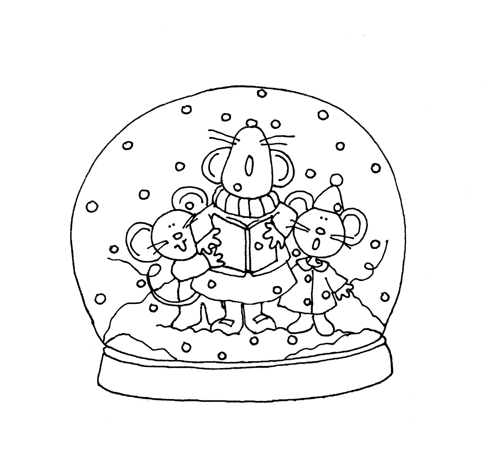 christmas snow globes coloring pages | Free Dearie Dolls Digi Stamps: Singing Mousies Snowglobe ...