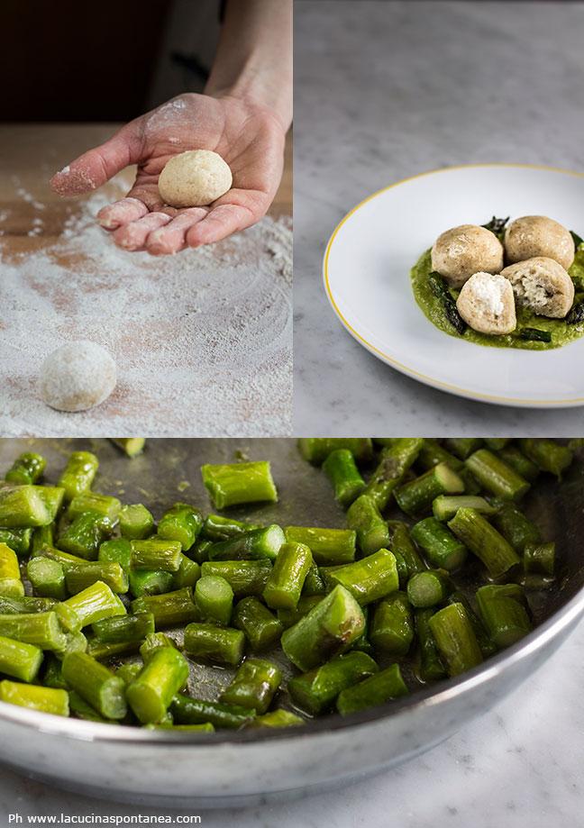 Gnocchi ripieni di baccalà su crema di asparagi passaggi