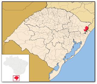 Cidade de Cambará do Sul, no mapa do Rio Grande do Sul