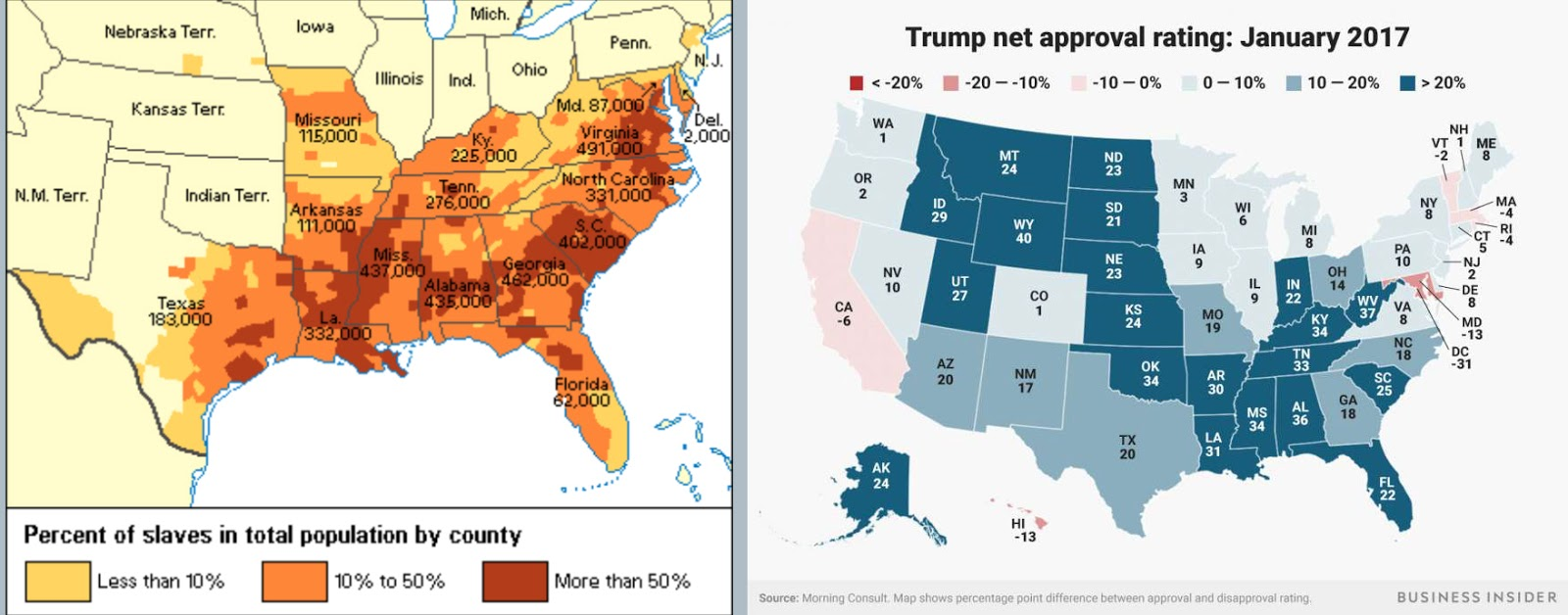 expanding to include rural states formed since 1860 states with similar ideology combine maps of the slave states in the civil war to trump s support