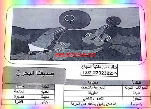 درس صديقنا البحرى أسئلة واجابات لغة عربية للصف السادس الفصل الدراسى الثانى