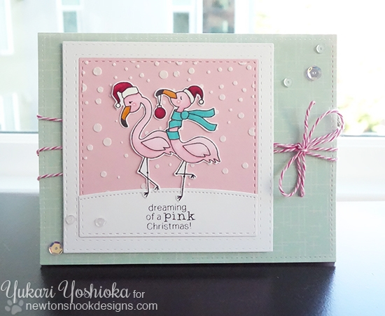 Pink Christmas Flamingo Card by Yukari Yoshioka | Festive Flamingos stamp set by Newton's Nook Designs #newtonsnook #flamingo