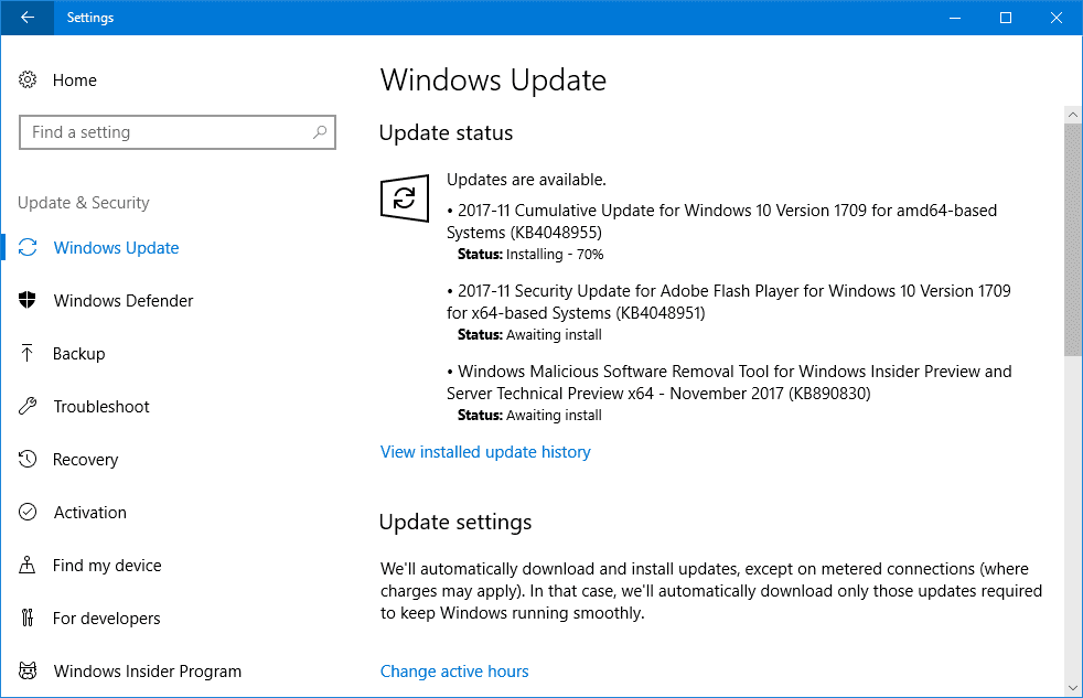 Cumulative Update KB4048955 for Windows 10 v1709 Build 16299.64