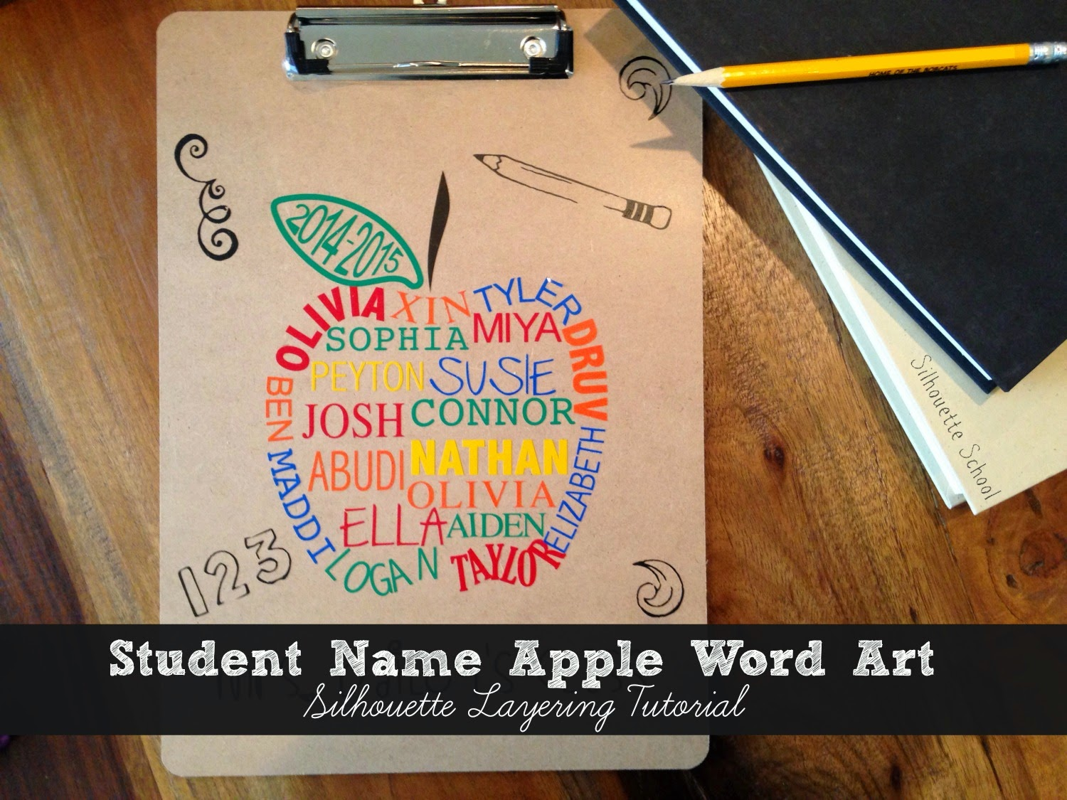 Silhouette Cameo, Silhouette Studio, Silhouette tutorial, word art apple, teacher gift