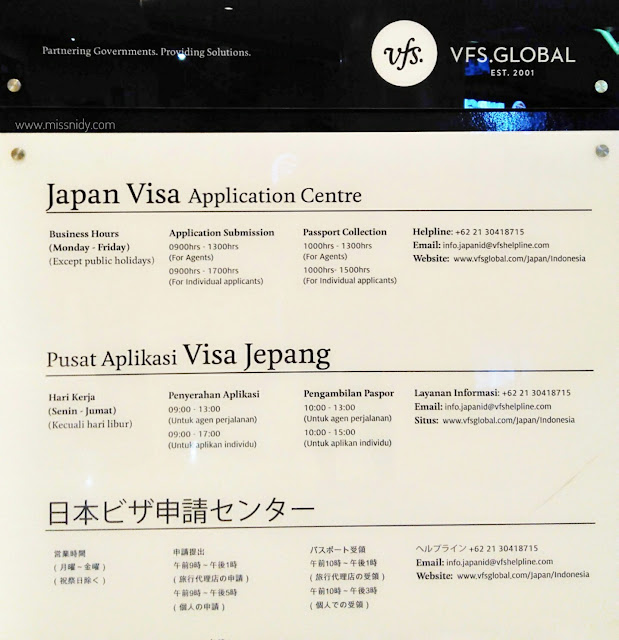 jam buka japan visa application center