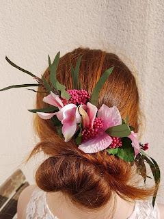 Patouche Chapeaux Normandie Fleurs de soie hortensia rose clair
