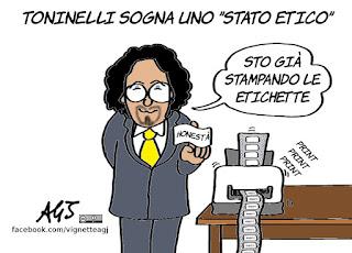 toninelli, stato etico, governo del cambiamento, politica, onestà, vignetta, satira
