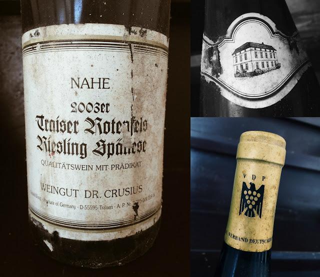 Riesling Spätlese des Jahrgangs 2003 vom Weingut Dr. Crusius aus Traisen an der Nahe