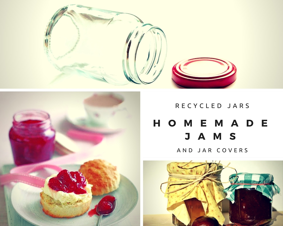 Recycled Jars, Homemade Jam And Jar Covers