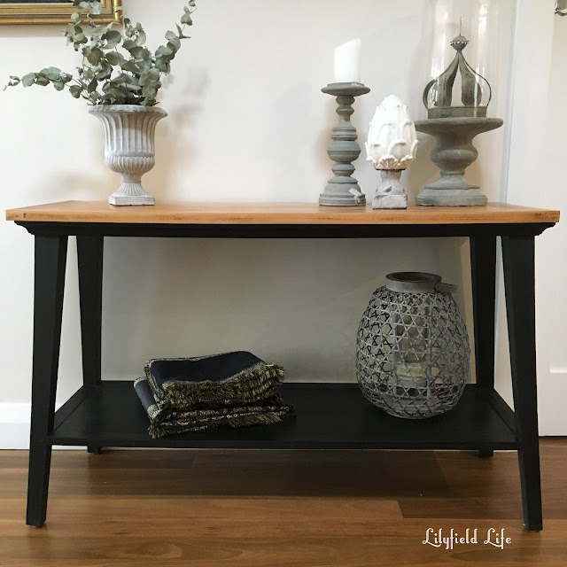 Modern timber console painted jet black chalk paint by Lilyfield Life