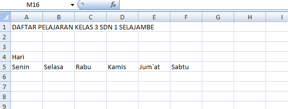 Membuat Data Untuk Tabel Ms.Excel