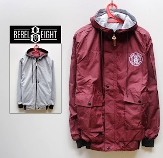 Jaket Distro Bandung Rebel Eight Bolak-balik Maroon Abu