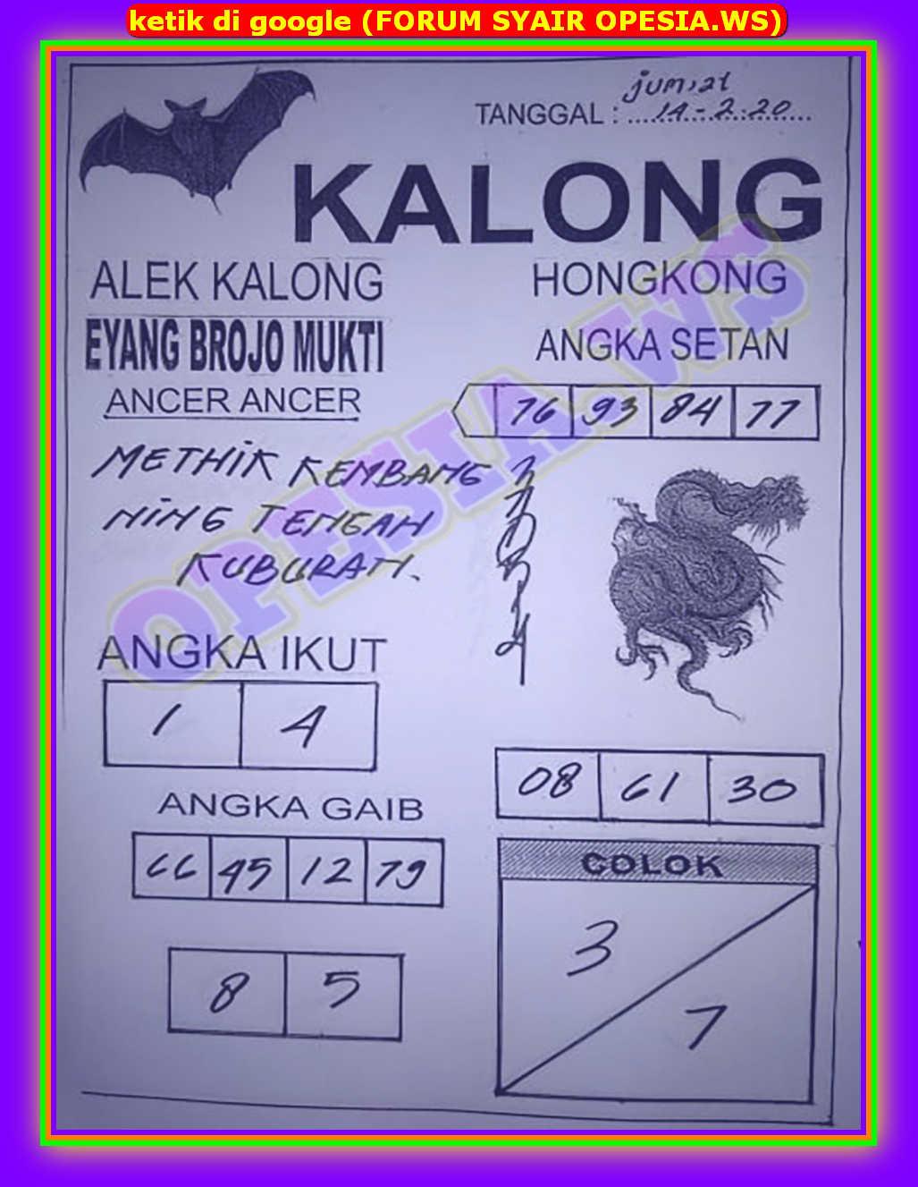 Kode syair Hongkong Jumat 14 Februari 2020 26