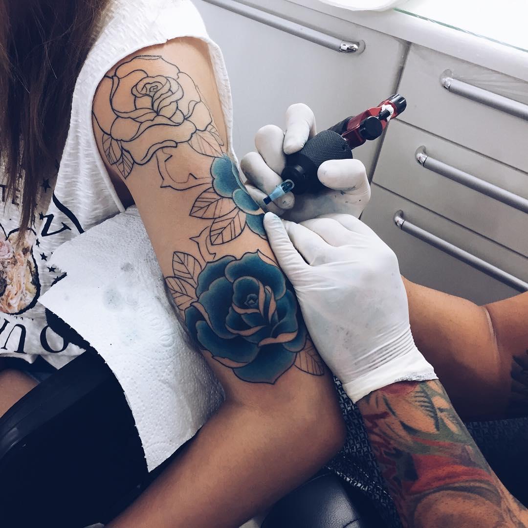 Half Sleeve Flower Tattoos For Girls