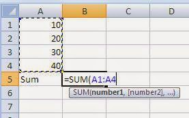 Notes on Microsoft Excel Functions How to type a function manually
