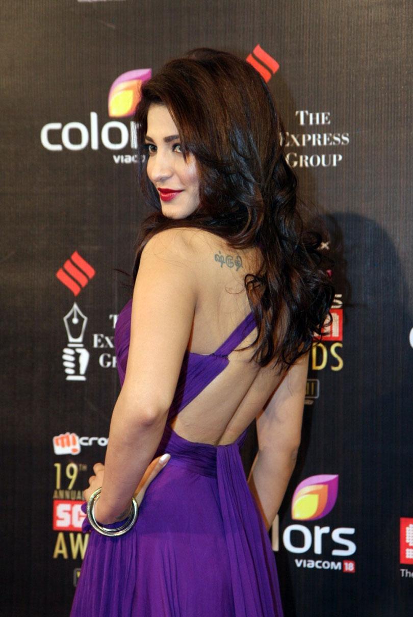 Actress Shruti Haasan In Violet at Colors Screen Awards