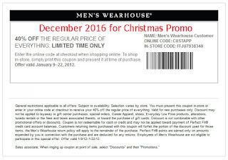 Men's Wearhouse coupons december 2016