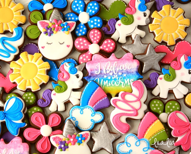 Brightly decorated unicorn sugar cookies