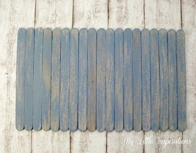 Insegna Coastal con stecchi gelato dry brush azzurro - MLI