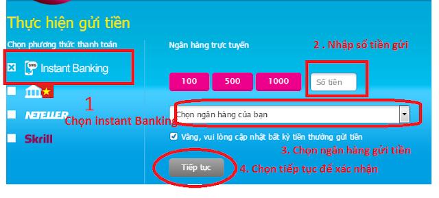 điền thông tin số tiền mà bạn muốn gửi vào instant banking