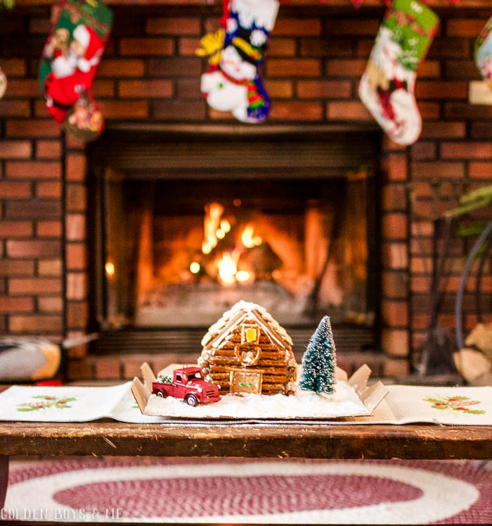 Log cabin gingerbread house for a cabin Christmas in the mountains