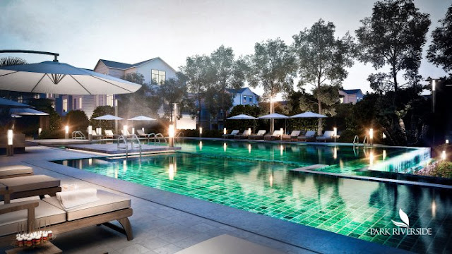 Hai hồ bơi tiêu chuẩn Resort nghỉ dưỡng cao cấp khu Biệt thự - Nhà phố Park River Side quận 9 HCM