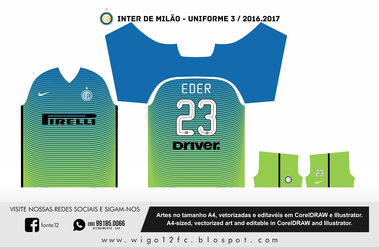 0a23cdb070 Fontes Camisas de Futebol  Uniforme Inter de Milão 2016-2017