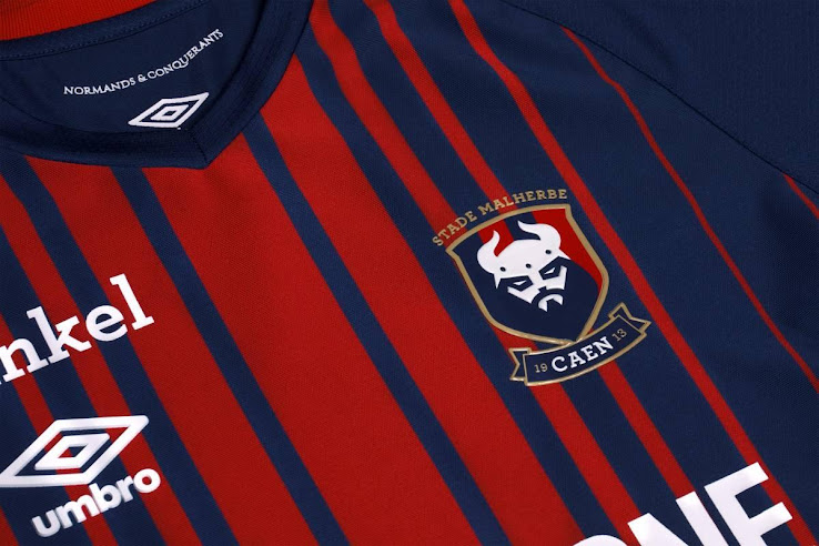 The new Umbro Caen 18-19 home kit was unveiled yesterday after the club  achieved promotion with a 0-0 draw against PSG. fb54b6a19