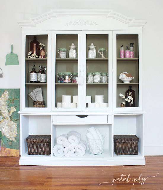 refinished hutch, repurposed hutch, painted hutch, painted china cabinet