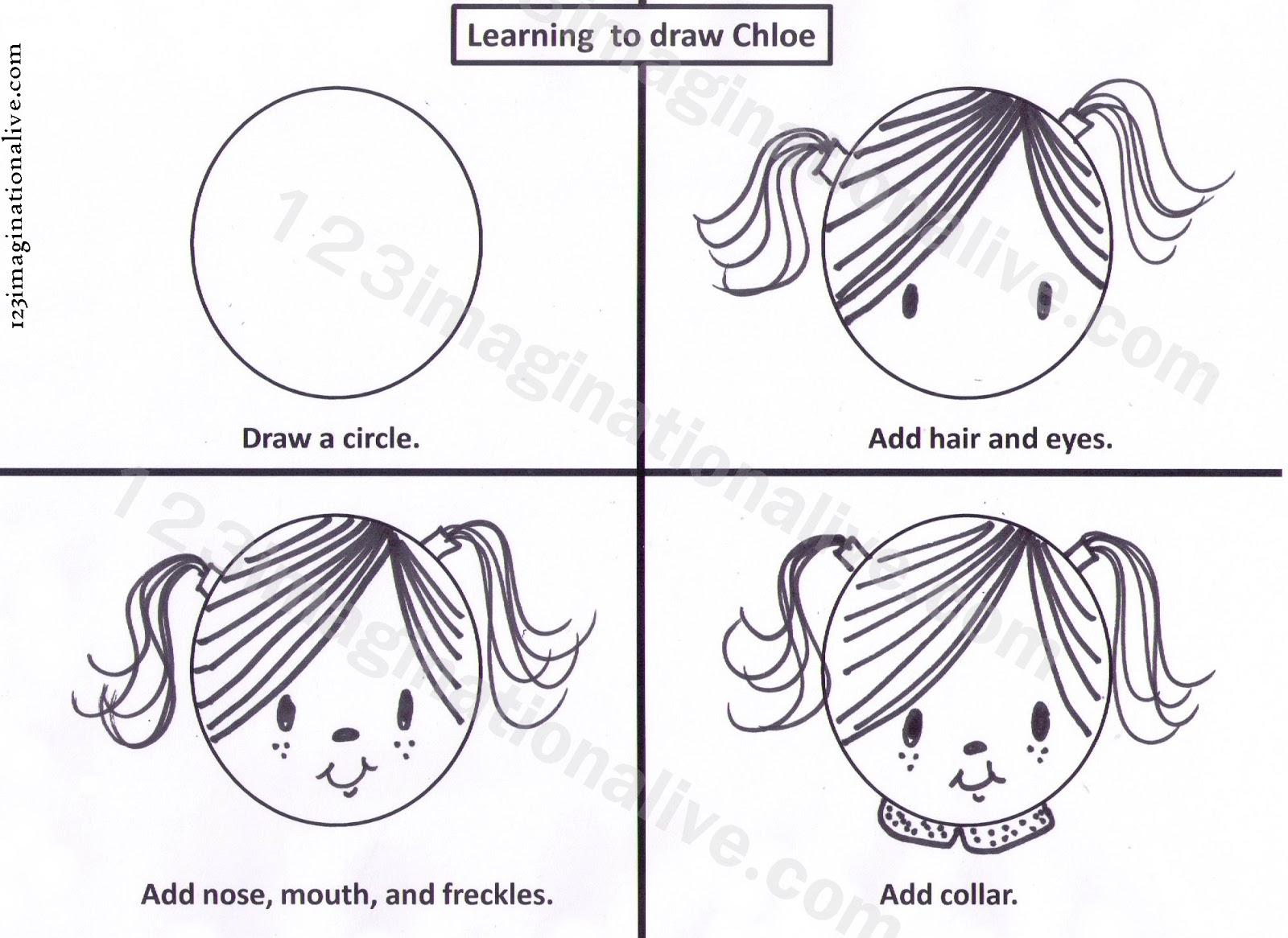 123imaginationalive Teaching Kids To Draw Chloe Art Lesson