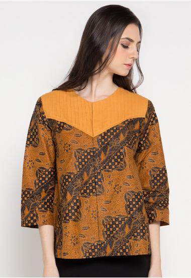 Contoh Baju Batik Wanita Kantoran Modern Terbaru